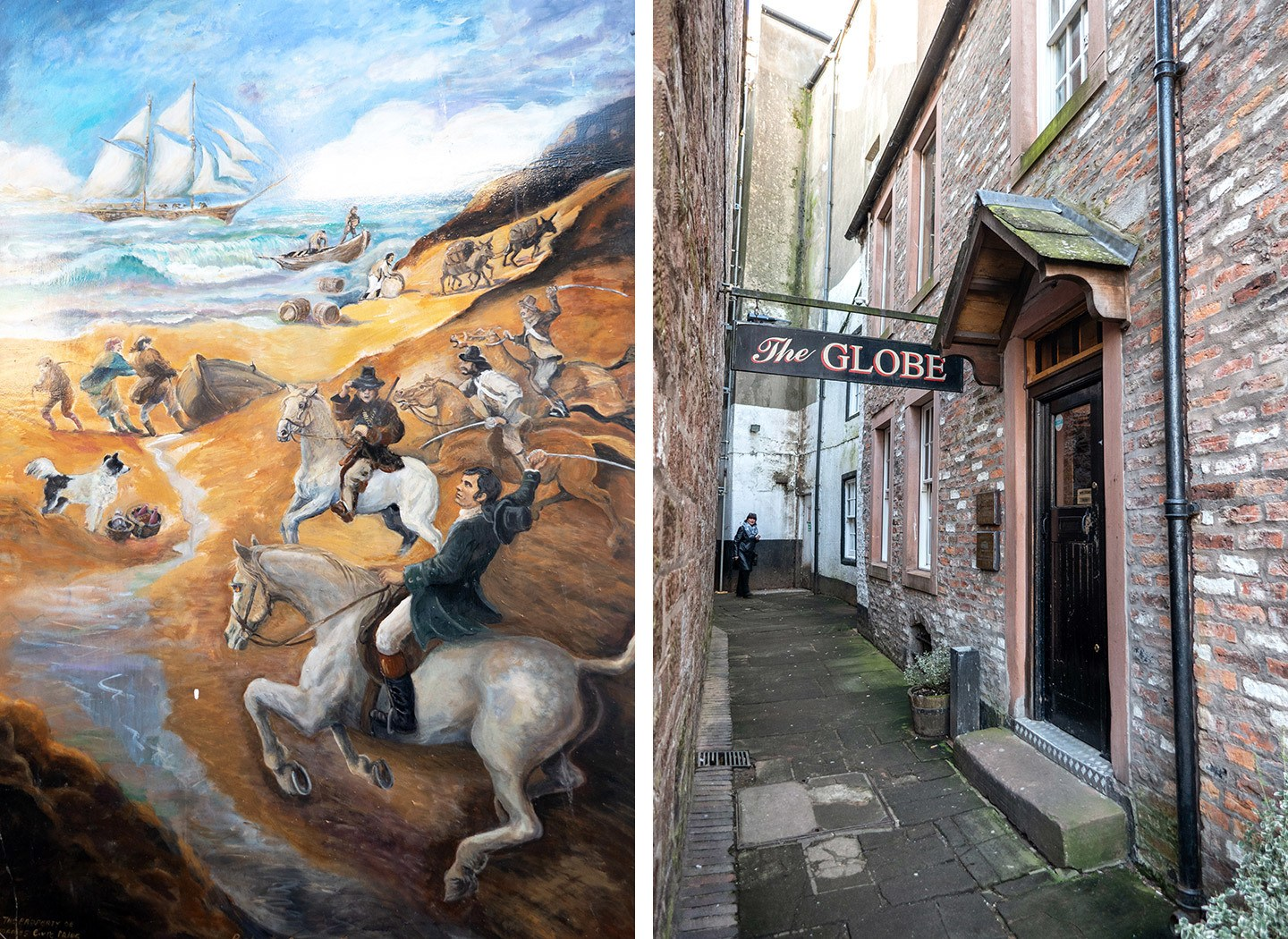 The Globe Inn in Dumfries and paintings depicting Burns poems outside
