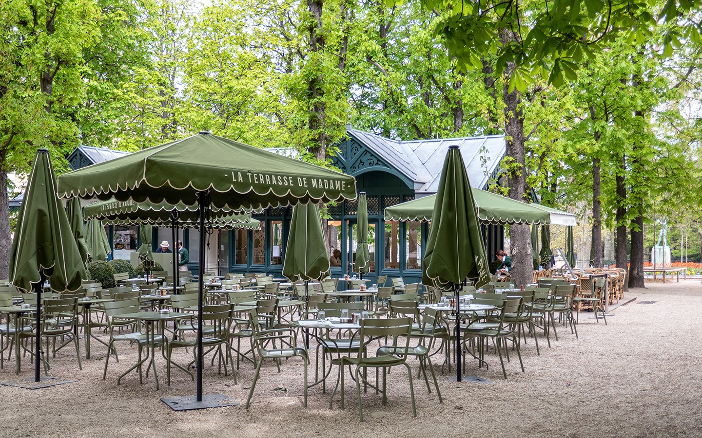 Cafe terrace in Paris Luxebourg Gardens