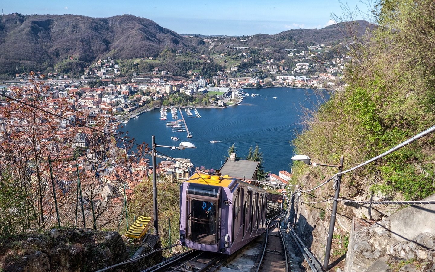 The funicular railway from Como town to Brunate