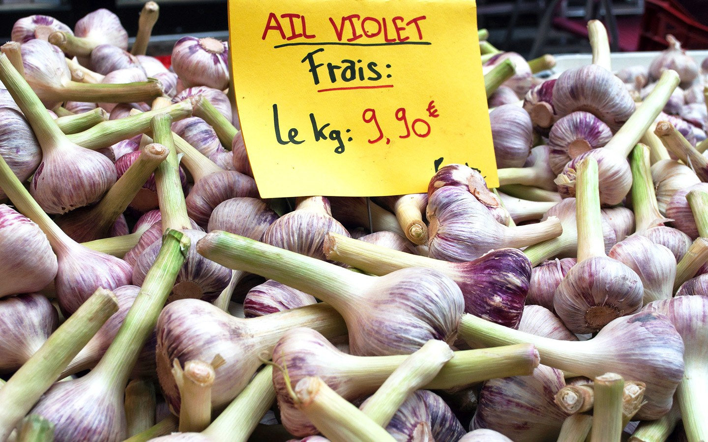 Garlic stall at the market in France