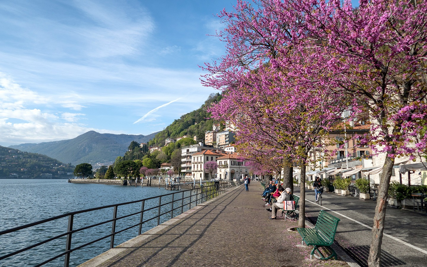 Waterfront walks along the shore of Lake Como, Italy