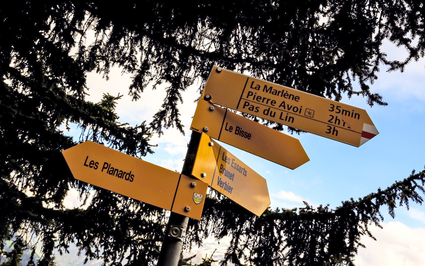 Signposts for hiking routes in Switzerland