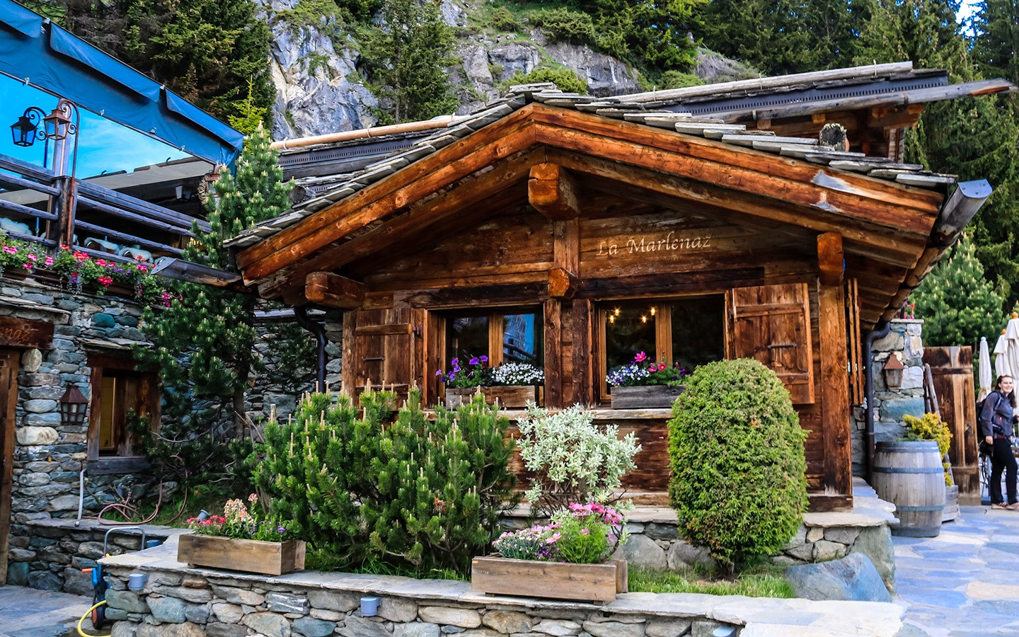 Wooden mountain restaurant in the Swiss Alps