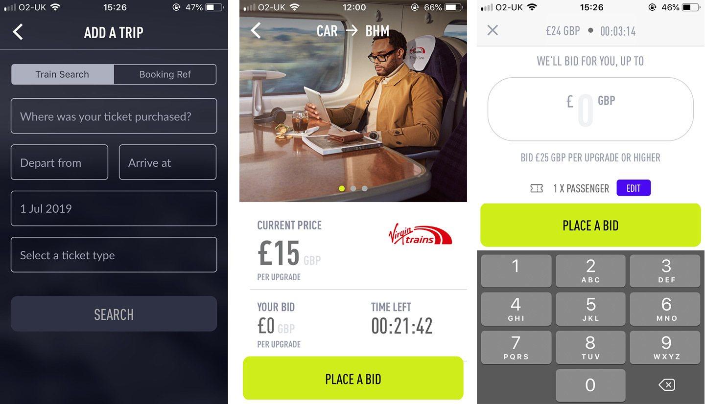 Screenshot of the Seatfrog train upgrade app