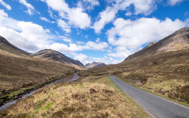 Driving the scenic Glen Etive Road in Scotland