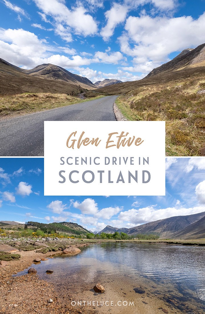 Looking for Scotland's most beautiful road? Take a scenic road trip on the Glen Etive road near Glencoe: A stunning drive past lakes and mountains, a location from Bond film Skyfall | Scottish Highlands | Things to do in Glencoe | James Bond Skyfall locations | Scenic drives in Scotland | Scotland road trip