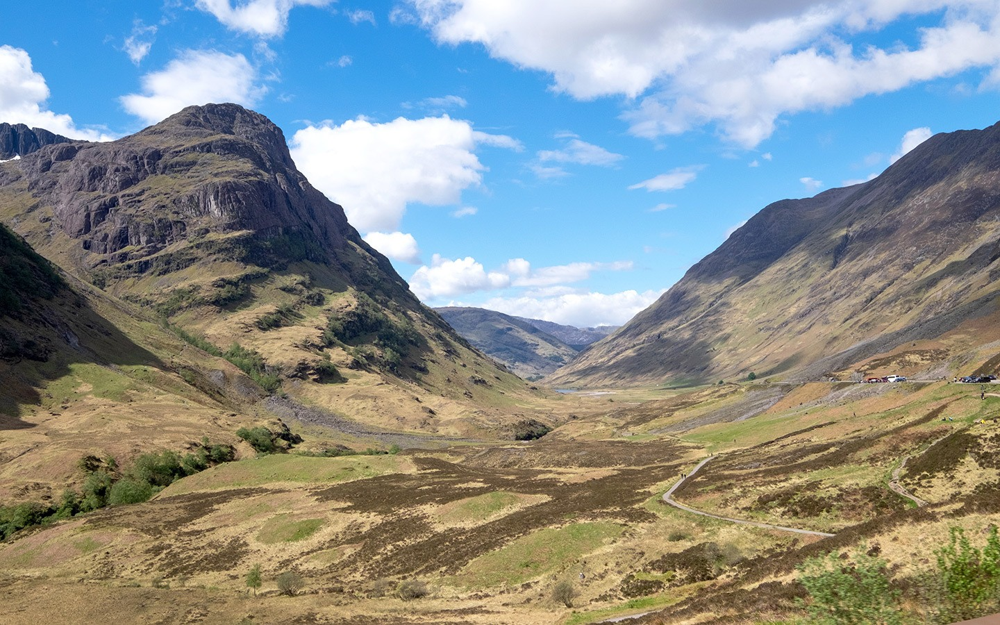 Driving through mountains at Glencoe in Scotlands