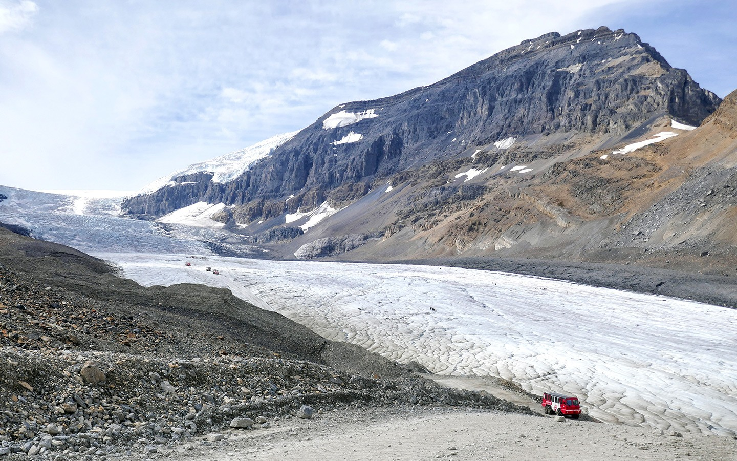 A Columbia Icefields tour in the Canadian Rockies – on board an ice explorer for a glacier walk on the surface of the Athabasca Glacier.