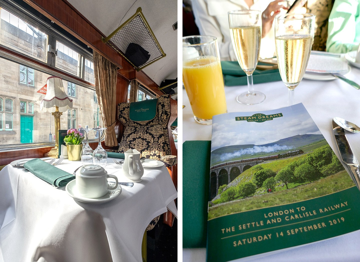 On board a steam train day trip Pullman Dining carriage