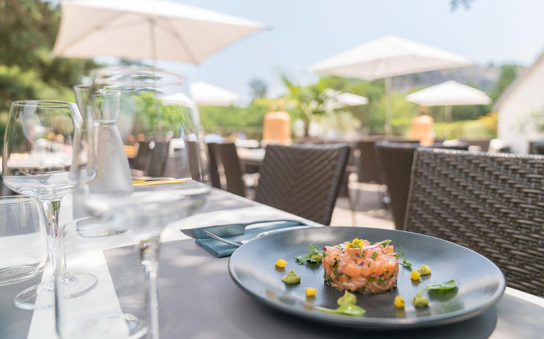 Salmon starter at terrace restaurant