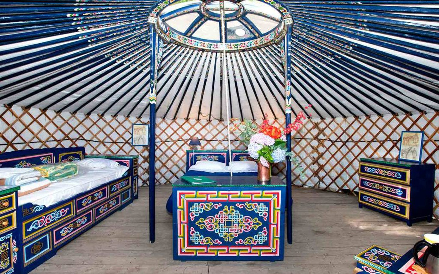 Inside a yurt on a glamping trip with Yelloh! Village