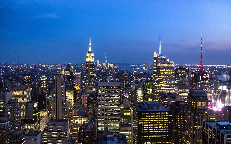 Dusk over Manhattan from the Rockefeller Centre