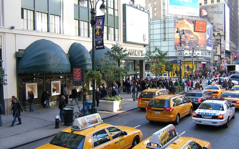 Fifth Avenue shopping street in New York in winter