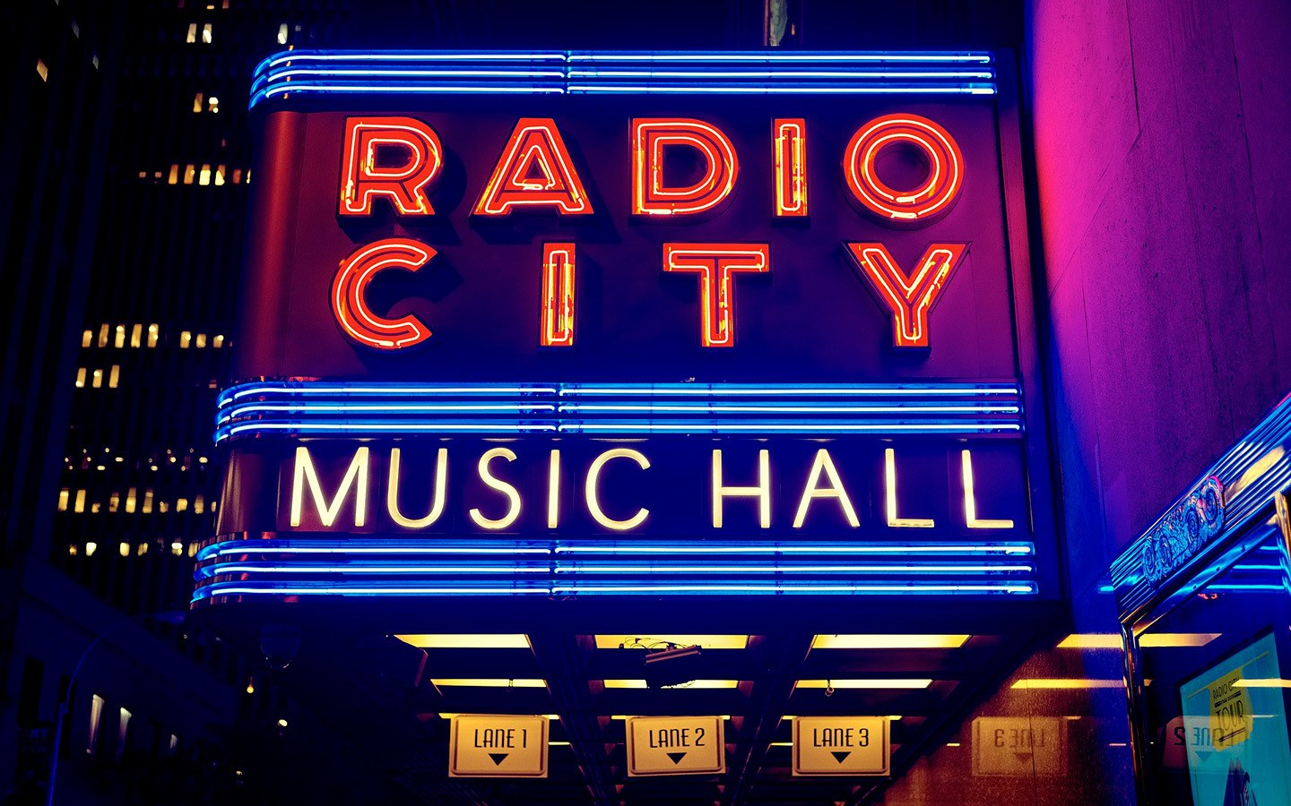 Neon signs at the Radio City Music Hall in New York