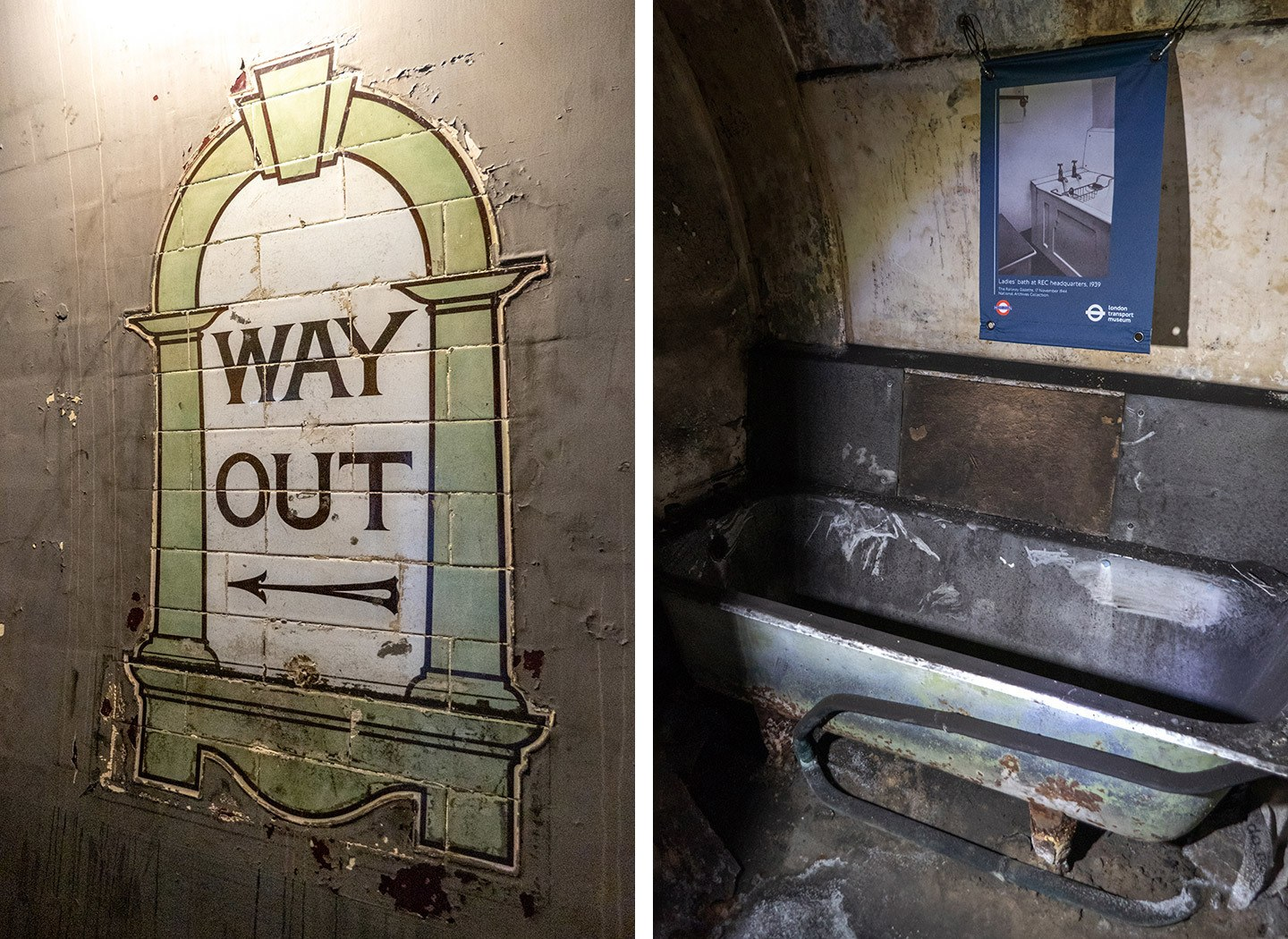 Original tiling and the old bathrooms on a Down Street Tube station tour
