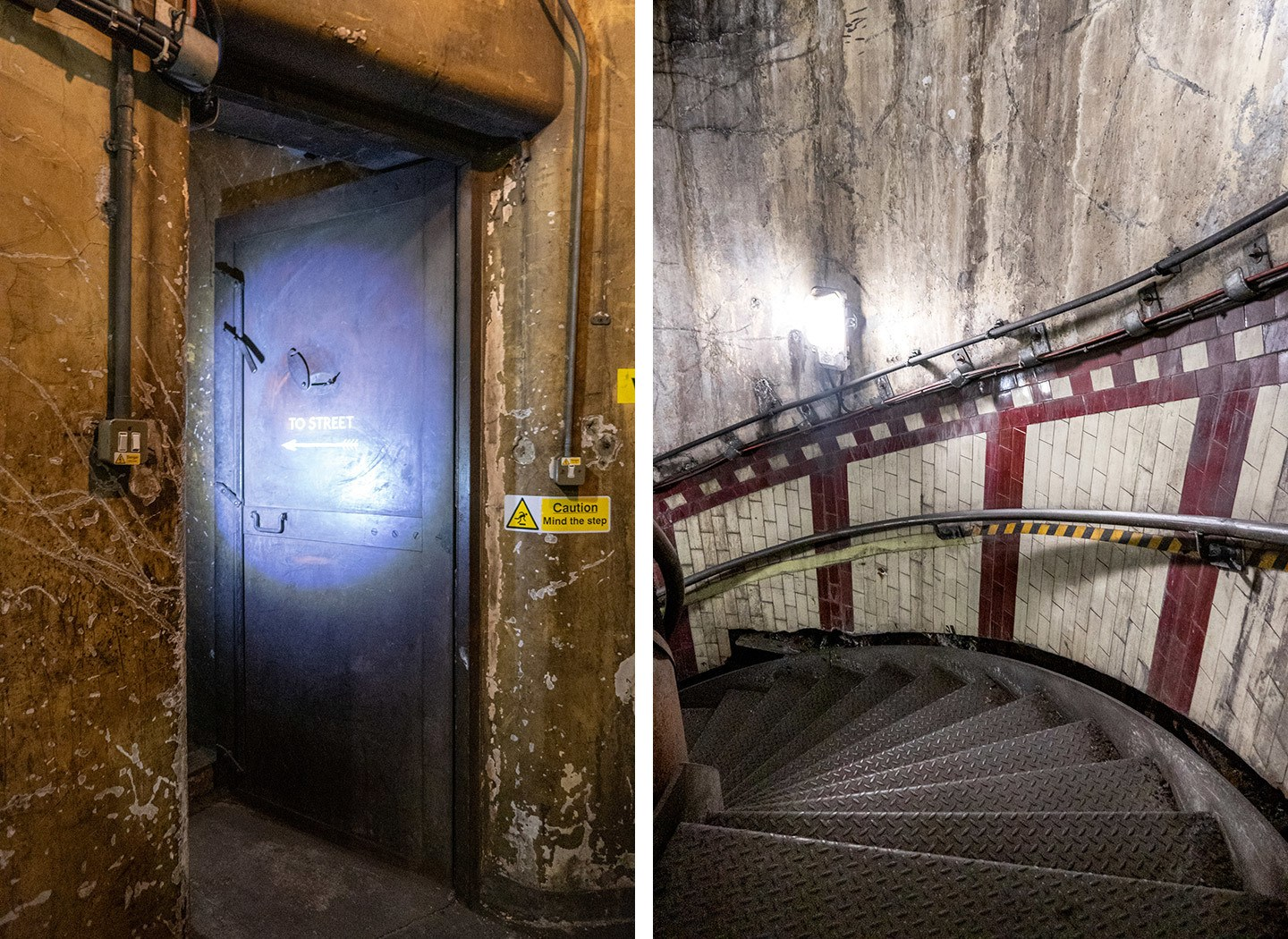 Doorway and spiral staircases leading into abandoned London Tube station