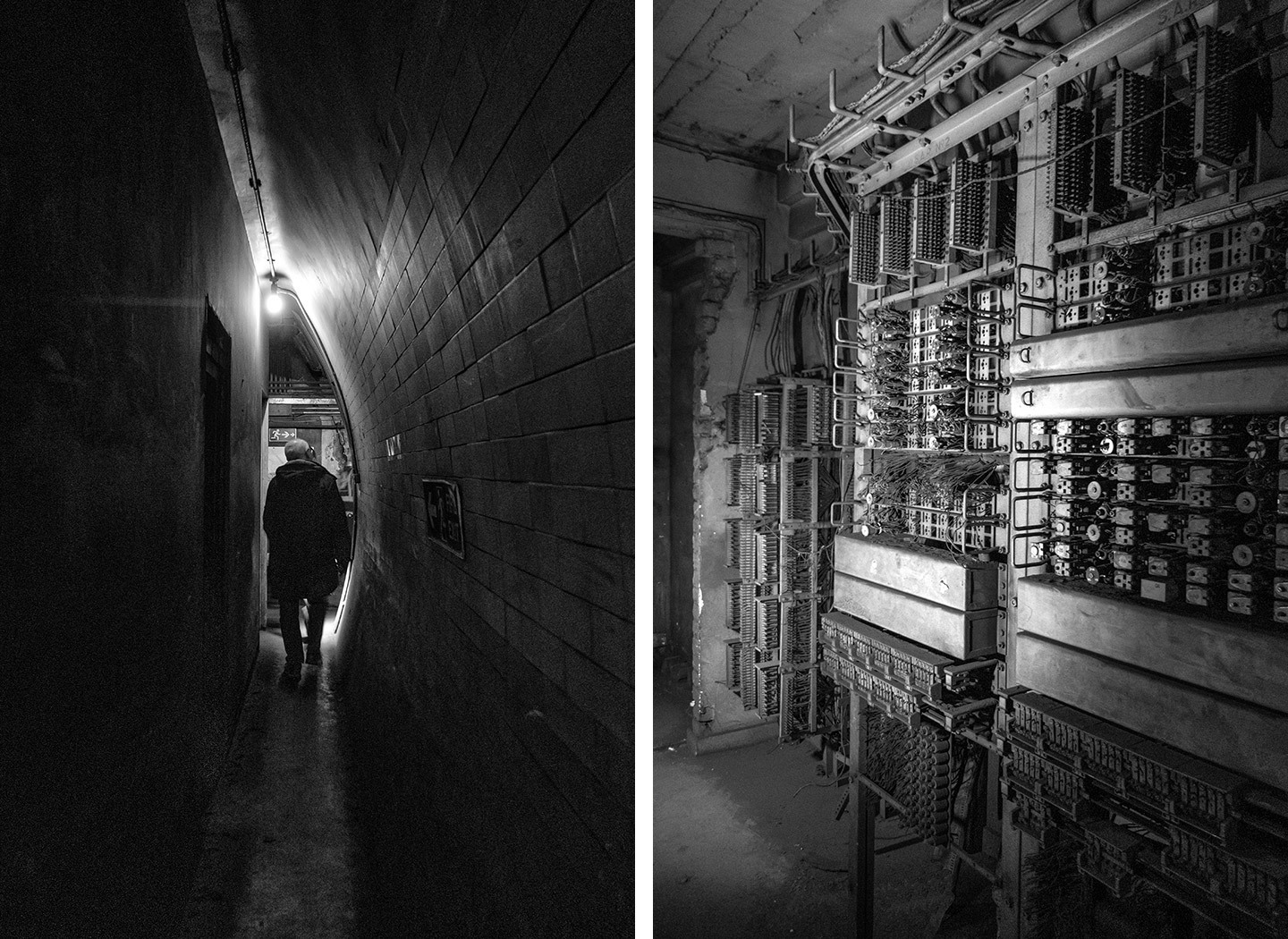 Narrow underground corridors and an old WWII telephone exchange