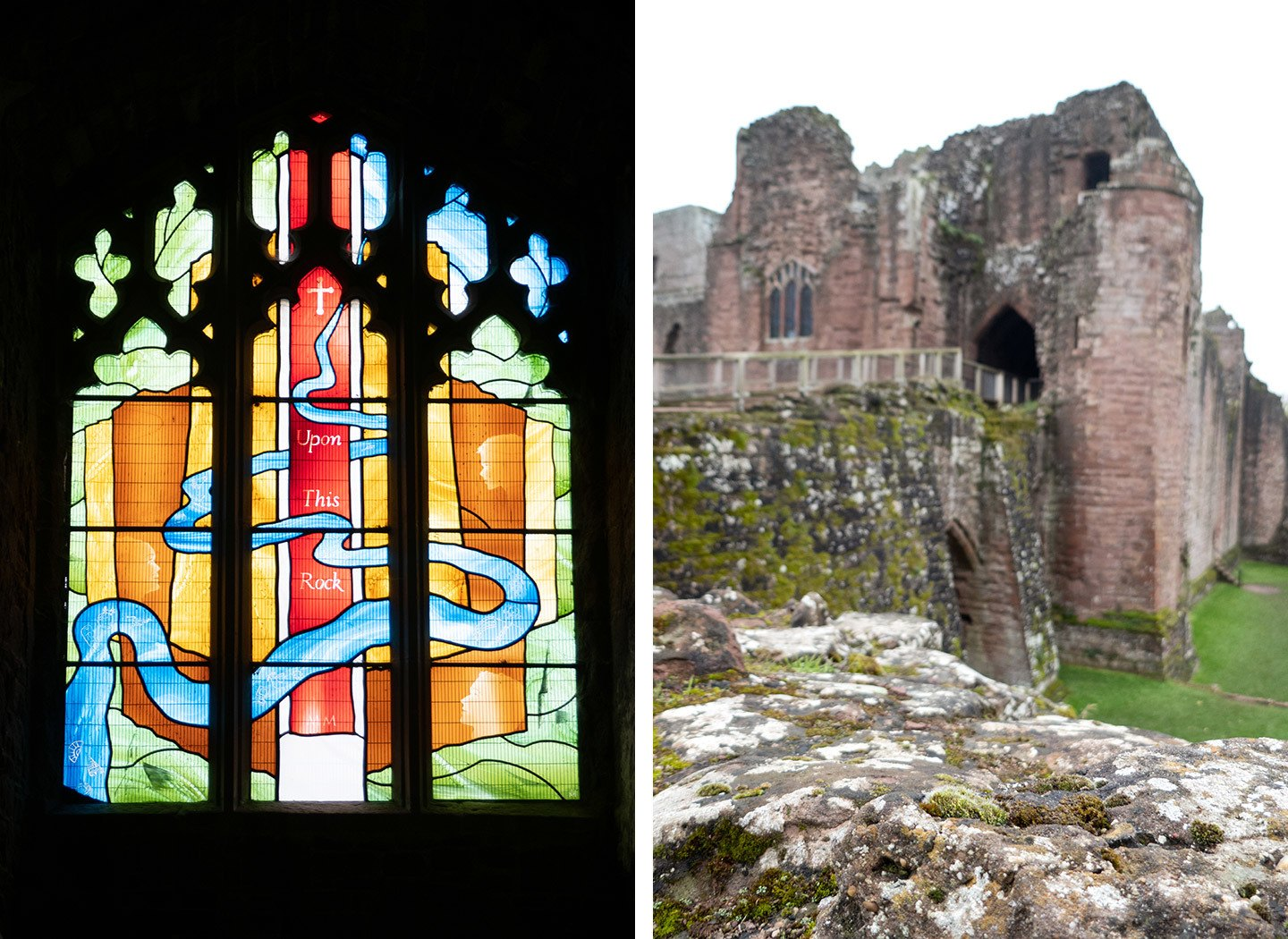 Goodrich Castle in Herefordshire – castle entrance and stained-glass window