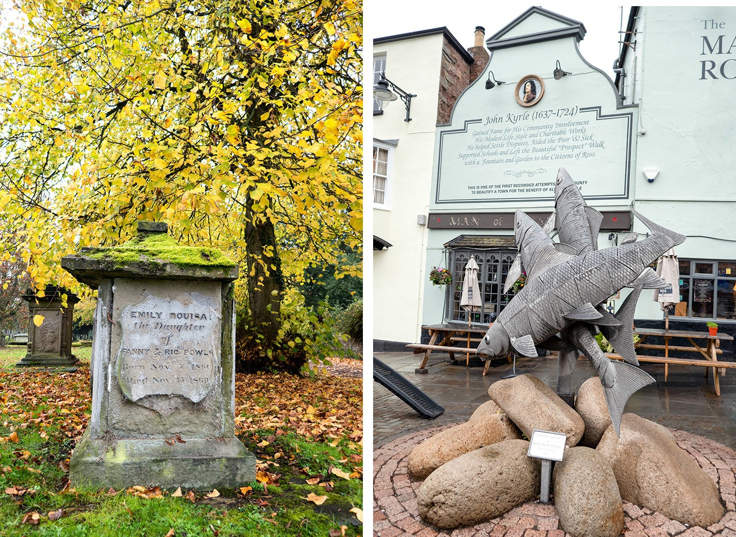 Graveyard and John Kyrle pub in Ross-on-Wye