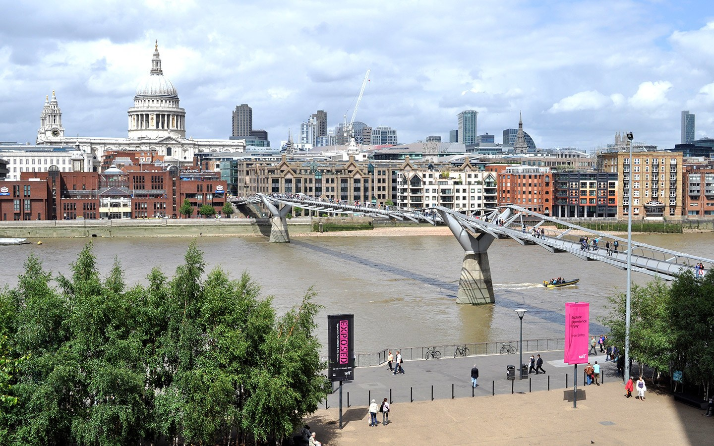 The Millennium Bridge and St Paul's Cathedral from Tate Modern