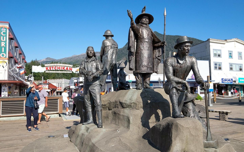 Statue of historic figures in Ketchikan Alaska