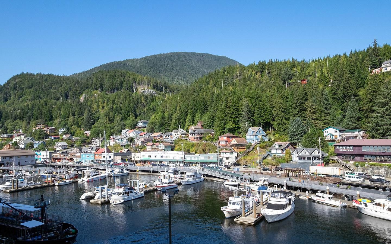 Boats along the waterfront in Ketchikan Alaska