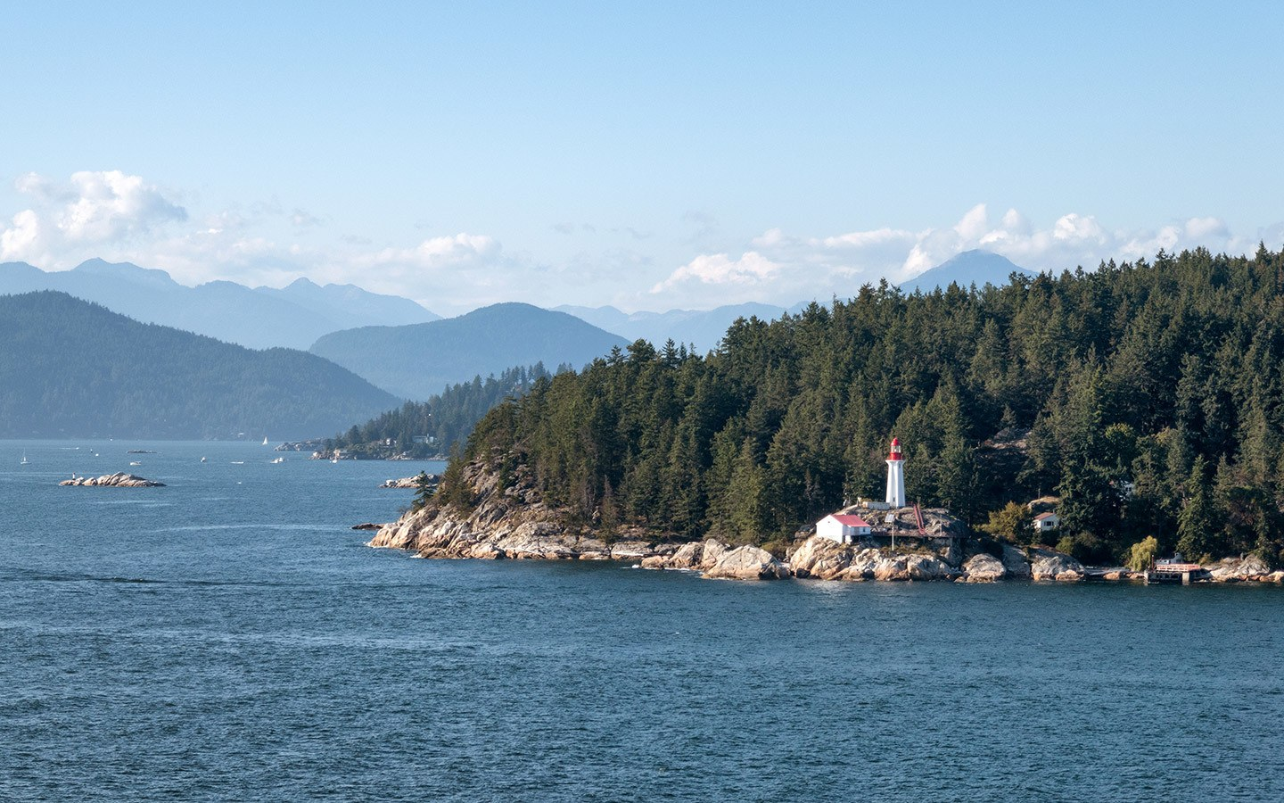 Sailing along the coastline outside Vancouver