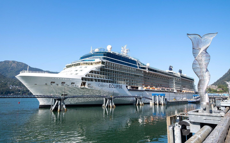 Celebrity Eclipse cruise ship docked in Juneau