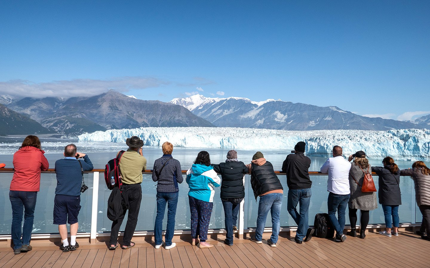 Cruise ship guests on deck at the Hubbard Glacier