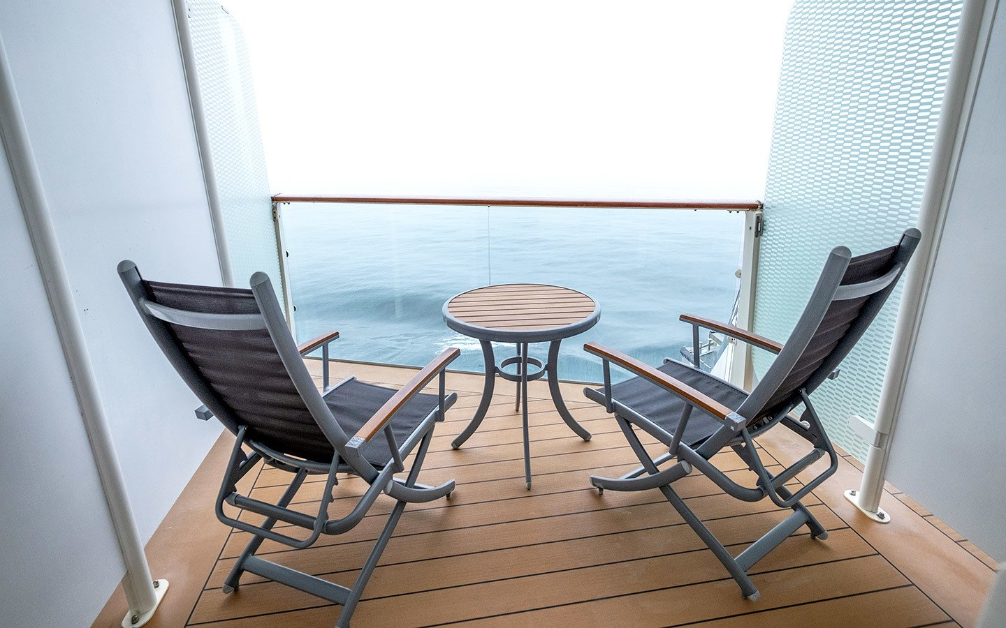 Misty morning on a cruise ship balcony