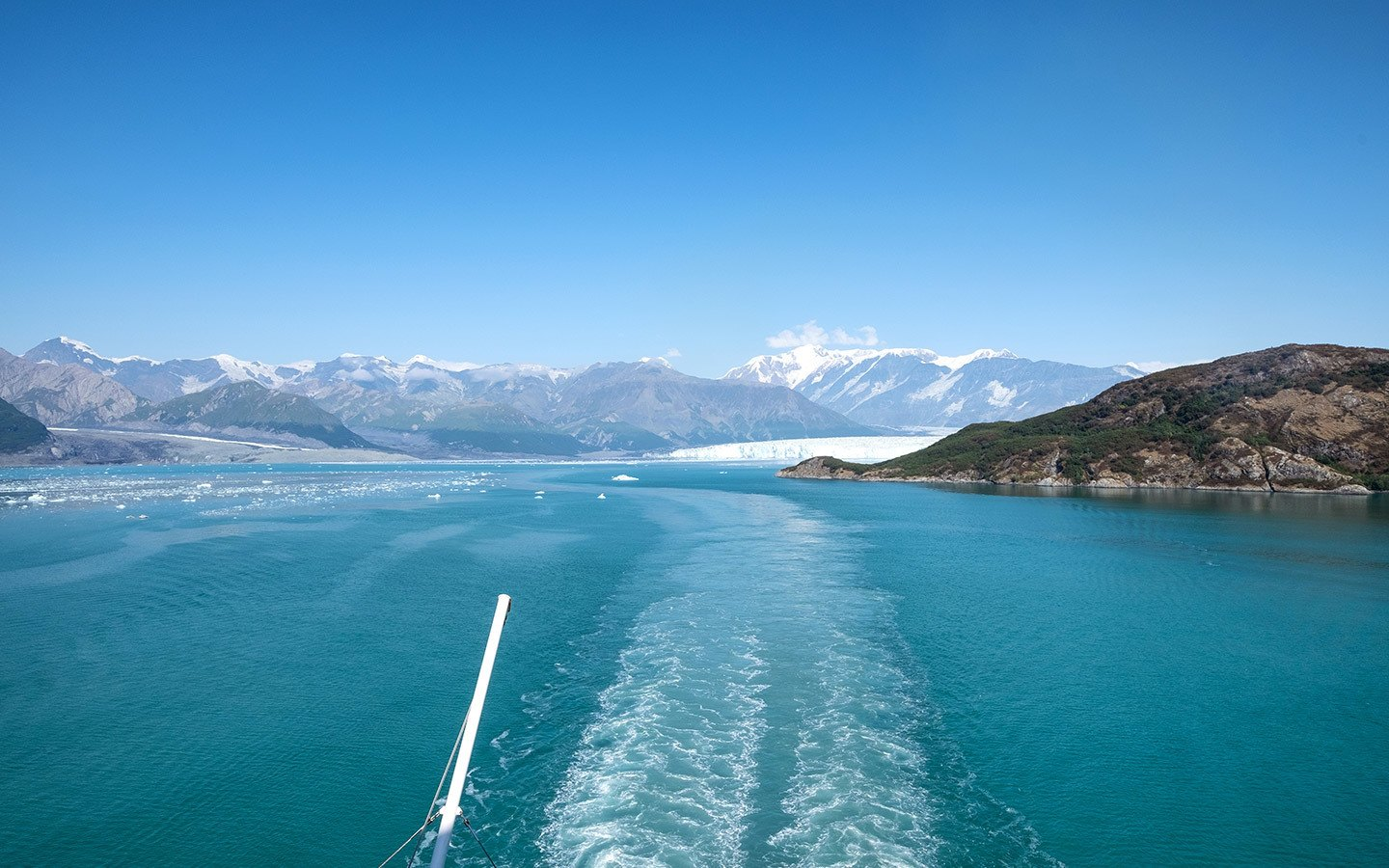 Sailing out of the Hubbard Glacier