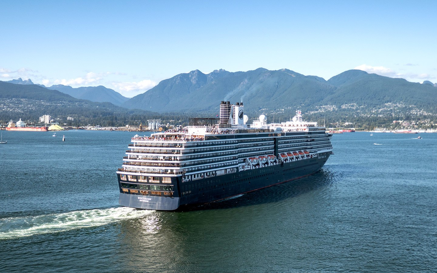 A Holland America ship sailing out of Vancouver