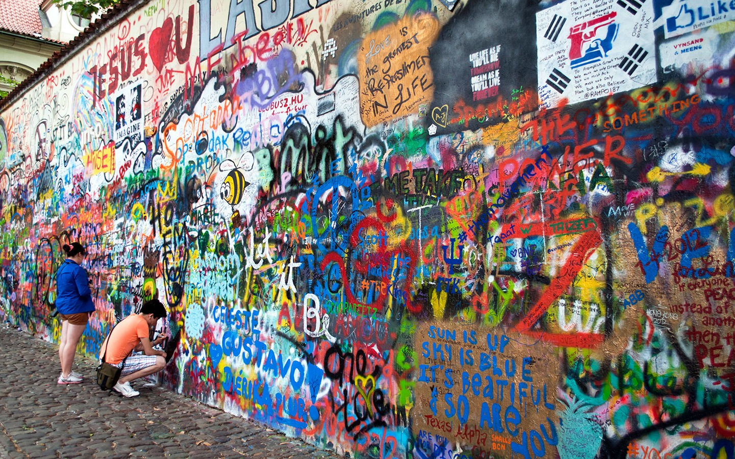 The grafitti-covered John Lennon Wall