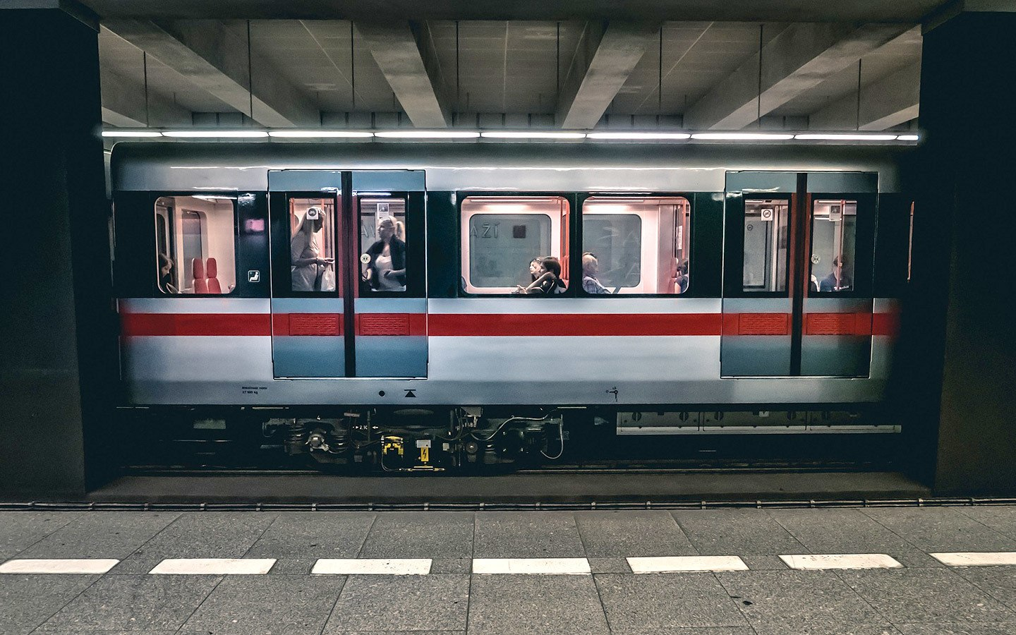 Prague Metro train in a station