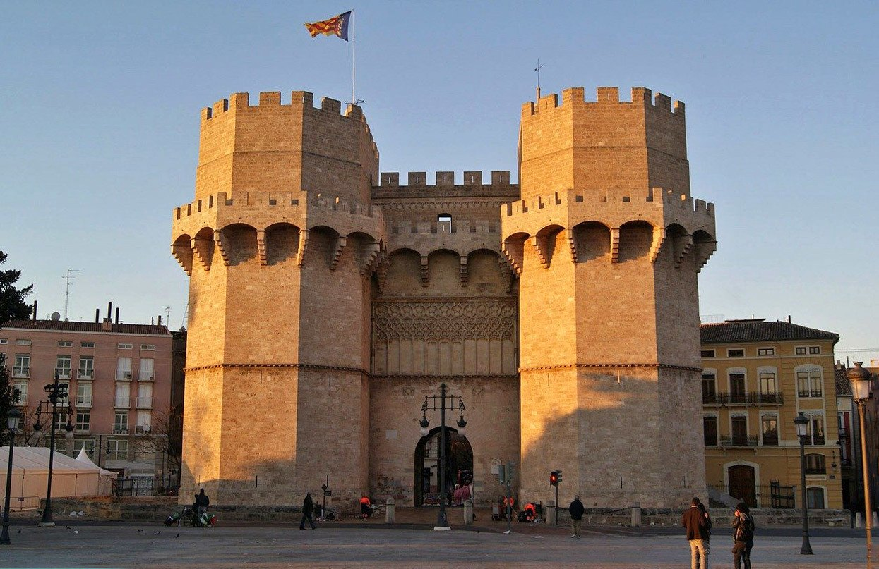 The Torres de Serrano city gates in Valencia, Spain