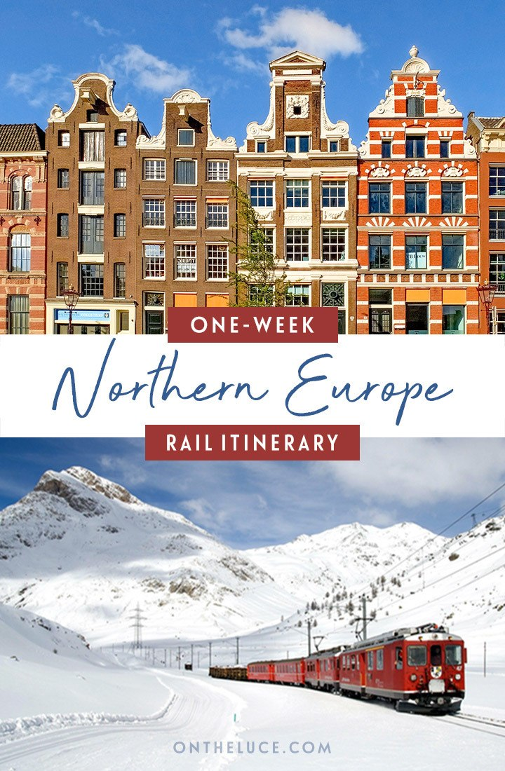 One-week Northern Europe by train itinerary from Amsterdam to Milan, with what trains to take, how much they cost, how to book and what to see along the way. #interrail #europe #train #rail