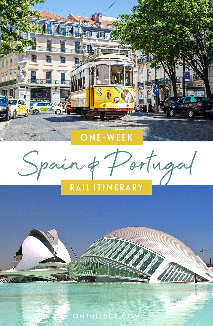 One-week Spain and Portugal by train itinerary from Barcelona to Porto, with what trains to take, how much they cost, how to book and what to see along the way.#interrail #europe #train #rail #spain #portugal