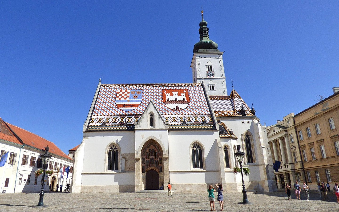 St Mark's Church with its colourful tiled roof in Zagreb, Croatia