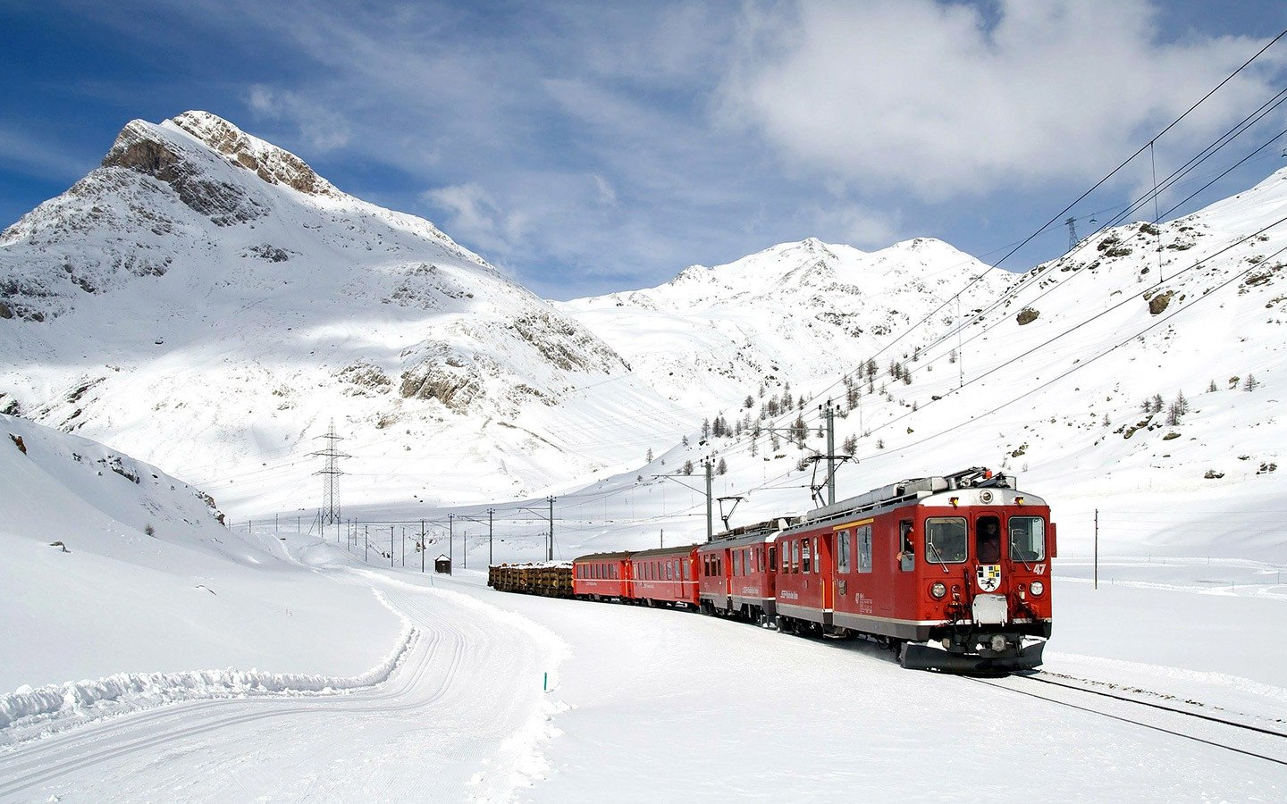 The Bernina Express in winter, one of Northern Europe's most scenic trains