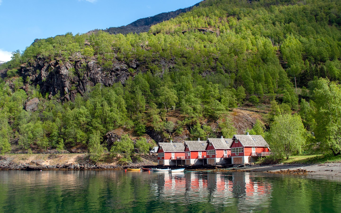 Cabins on the fjord in Flam, Norway