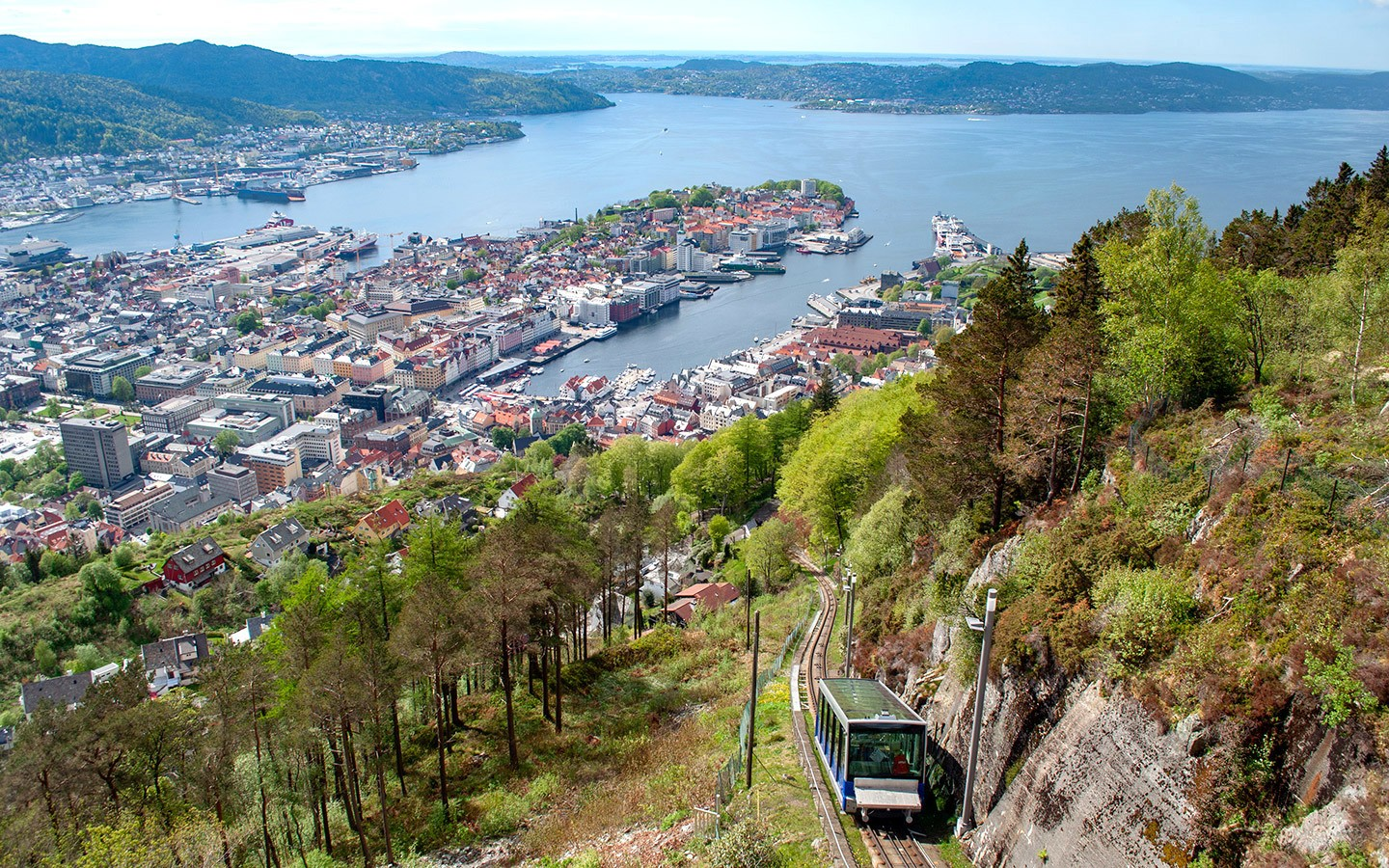 The Fløibanen funicular railway in Bergen at the end of the trip through Scandinavia by train