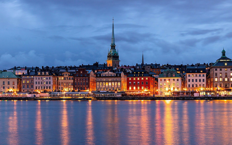 Waterfront Stockholm at dusk