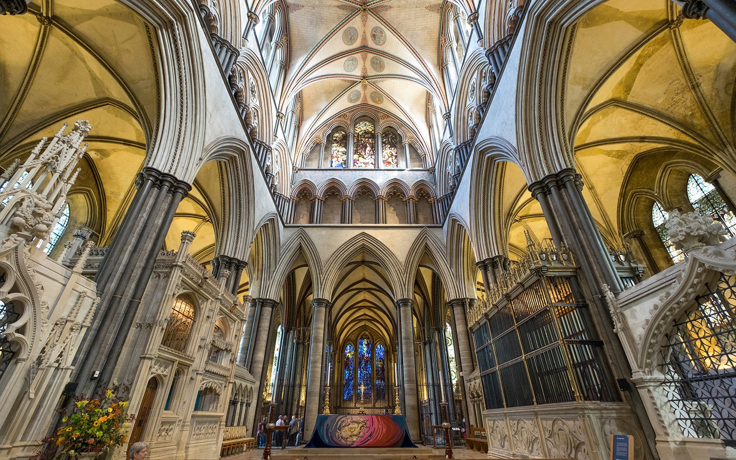 The interiors of Salisbury cathedral