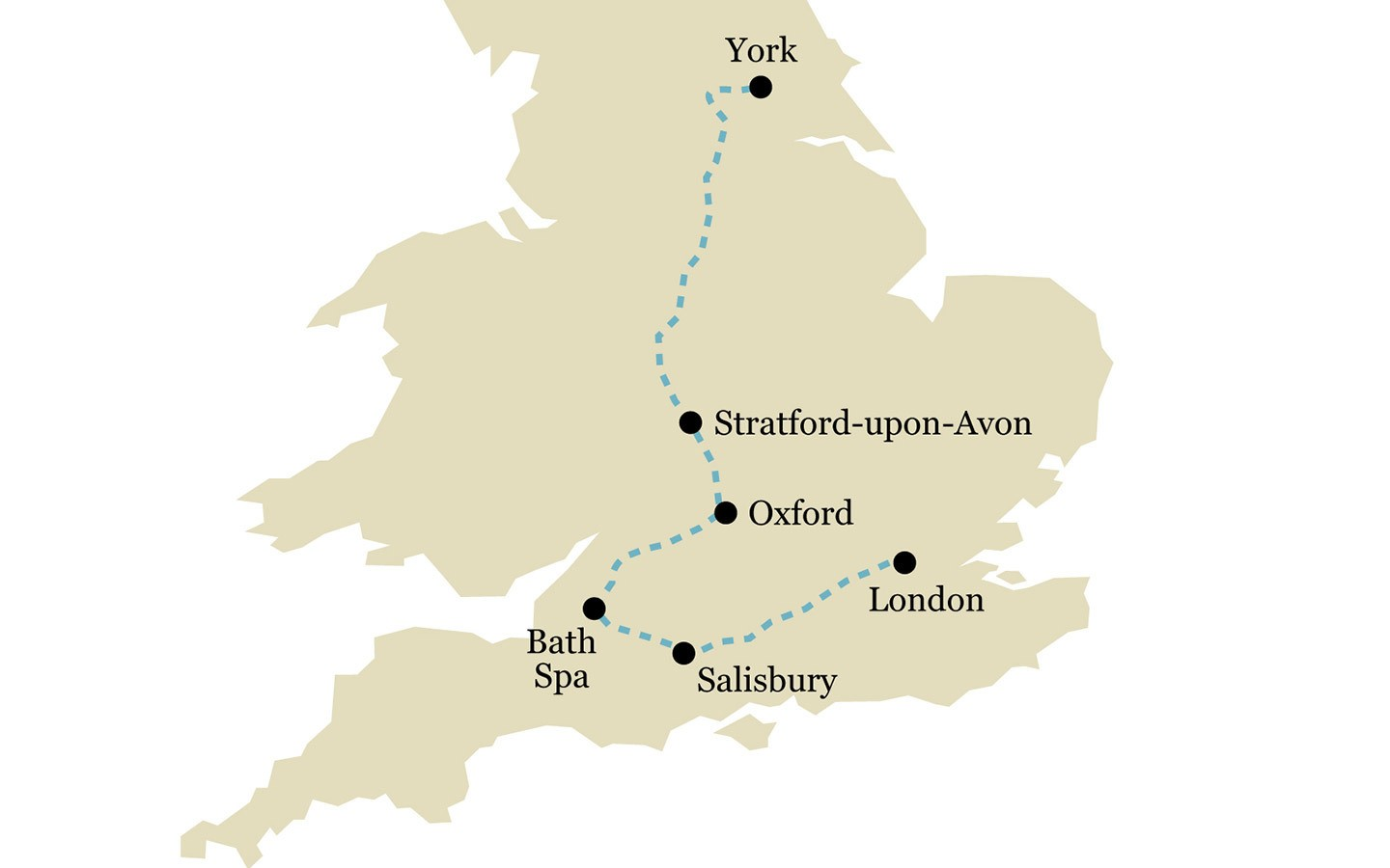 One-week Historic England by train itinerary map