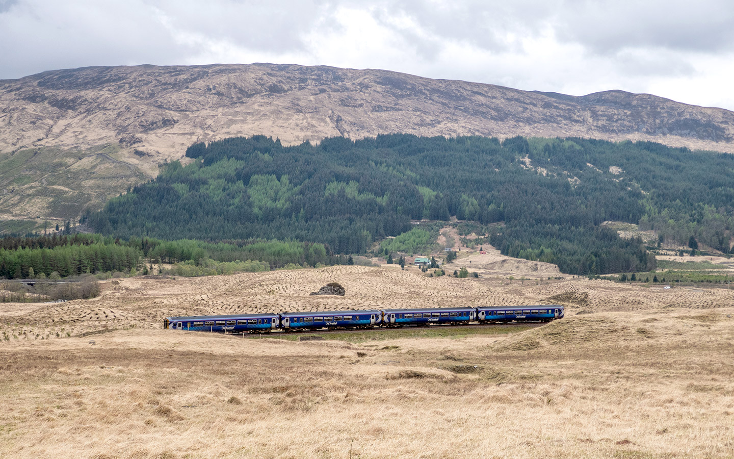 Train near Bridge of Orchy on the West Highland Line in Scotland