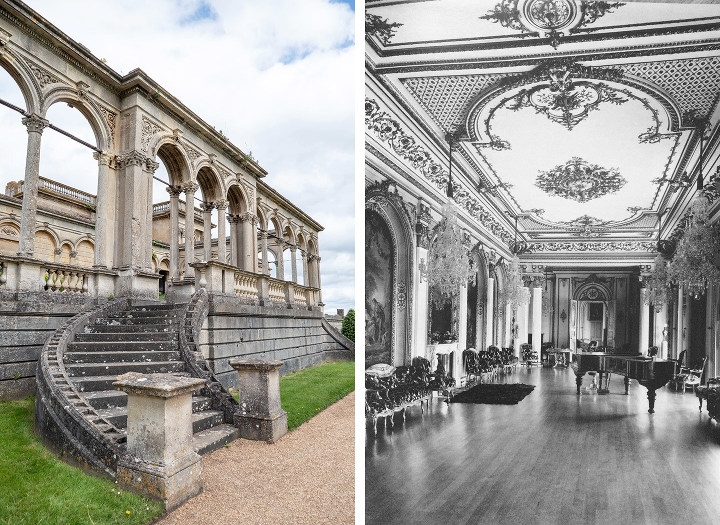 The conservatory/orangery ruins and the ballroom in the heyday of Witley Court