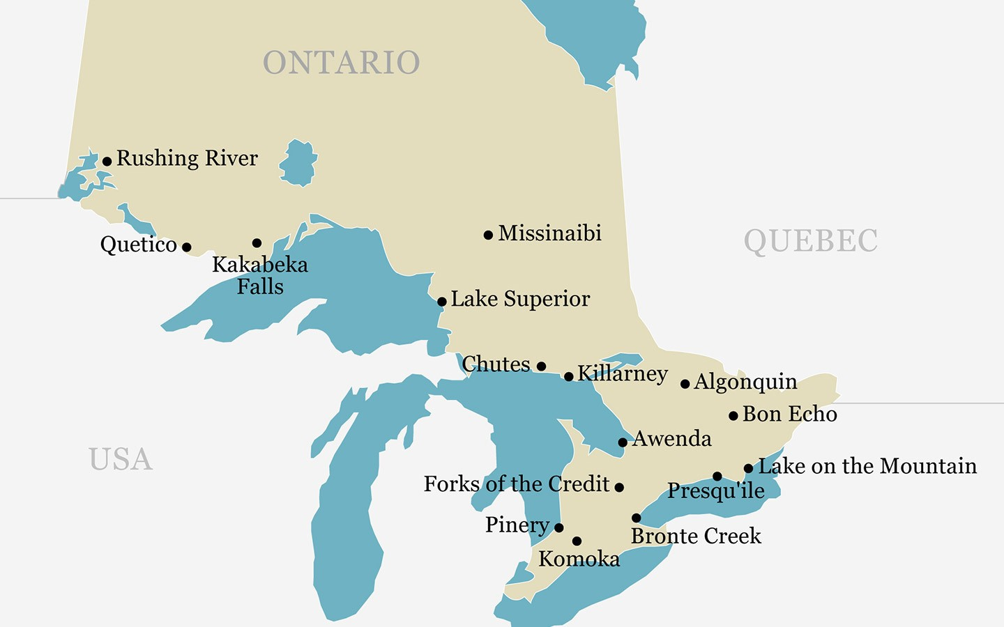 Ontario Provincial Parks map