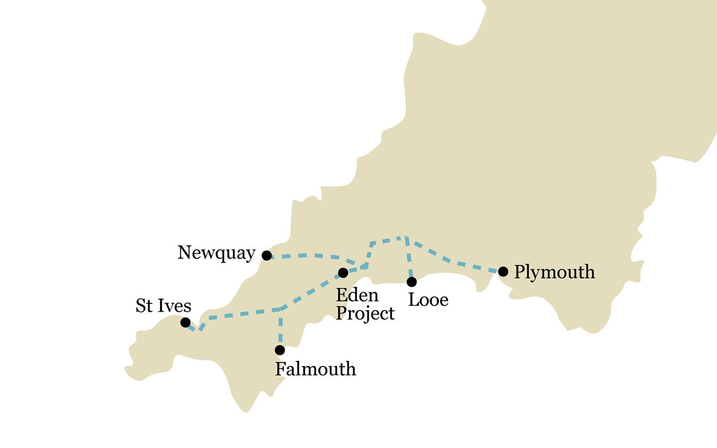 One-week coastal Cornwall by train itinerary