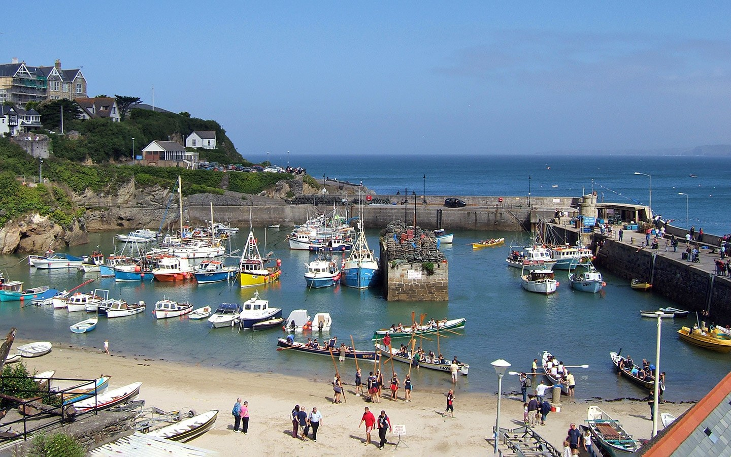 Boats in the harbour in Newquay, Cornwall