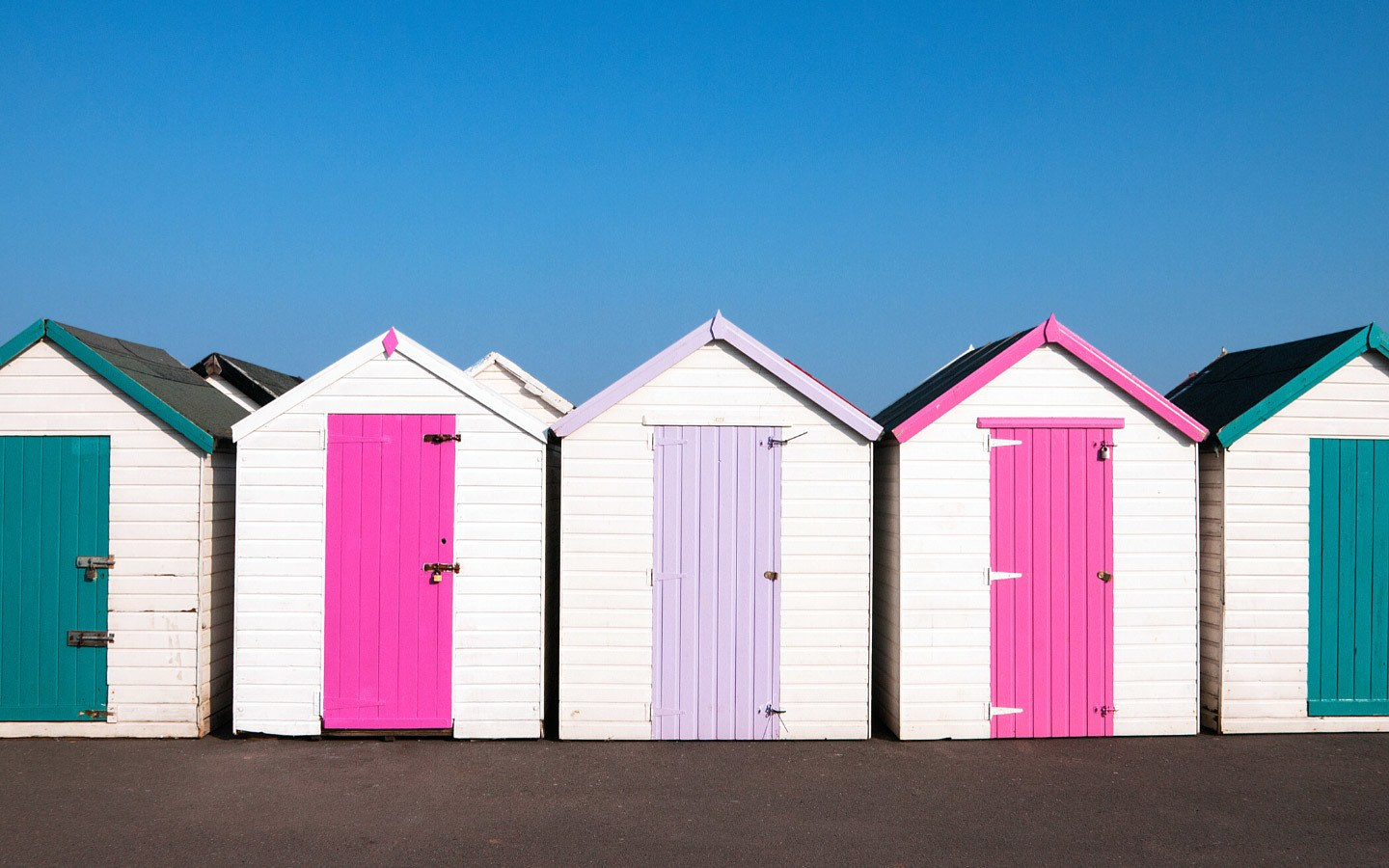 Colourful beach huts in Paignton, Devon